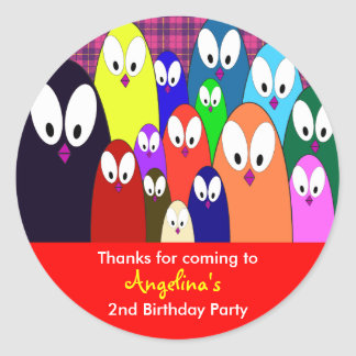 Kids birthday Thank You Stickers: Penguins Round Sticker