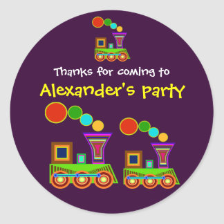 Kids birthday Thank You Stickers: Train Round Sticker