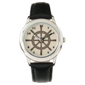 Kids Black Ship Wheel Watch. Watch