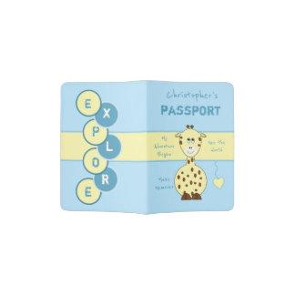 Kids blue and yellow giraffe passport holder