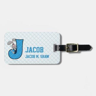 """Kid's Blue Jackrabbit Monogram """"J"""" Luggage Tags"""
