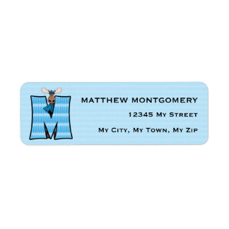 "Kid's Blue Moose Monogram ""M"" Address Labels"