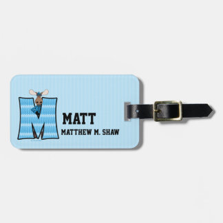 "Kid's Blue Moose Monogram ""M"" Luggage Tags"