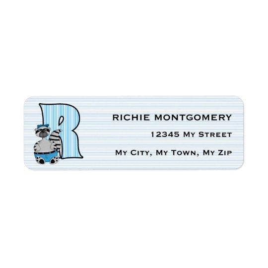 "Kid's Blue Racoon Monogram ""R"" Address Labels"