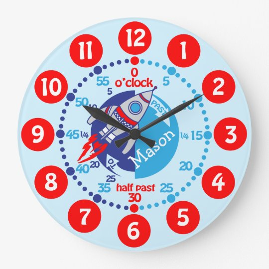 Kids Boys Learn To Tell Time Blue Red Space Clock Zazzle