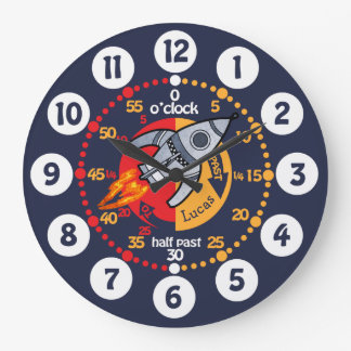 Kids boys learn to tell time space rocket clock