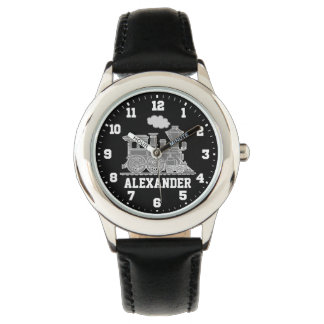Kids boys name grey black train wrist watch
