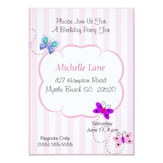 Kids Butterflies  Birthday Invitation