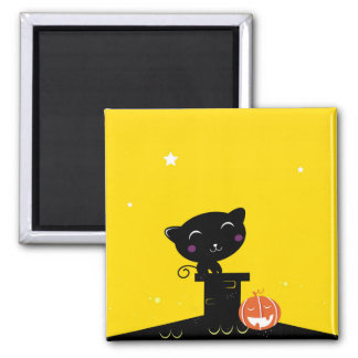 Kids button with black Kitten Square Magnet