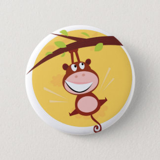 KIDS button with jumping Monkey / brown, yellow