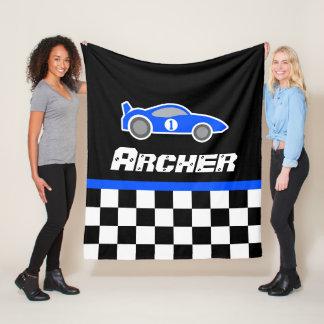Kids car blue chequered flag name blanket