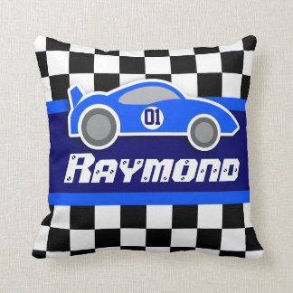 Kids car blue chequered flag name pillow