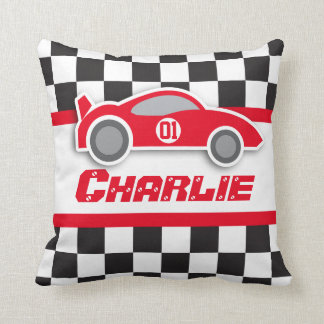 Kids car bright red chequered flag name pillow throw cushions