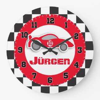 Kids car red chequered flag name wall clock