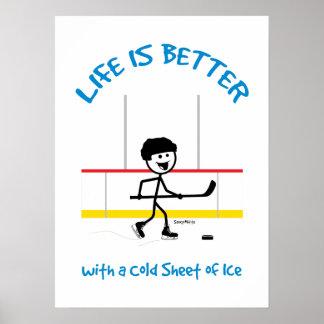 Kids Cartoon Hockey Life Is Better Hockey Poster