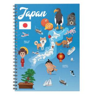 Kids Cartoon Map of Japan Notebook
