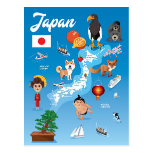 Kids Cartoon Map of Japan Postcard