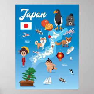 Kids Cartoon Map of Japan Poster