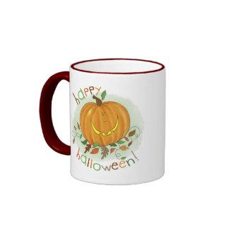 Kids Cartoon Pumpkin Halloween Ringer Coffee Mug