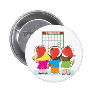 Kids Christmas Calendar Pinback Button