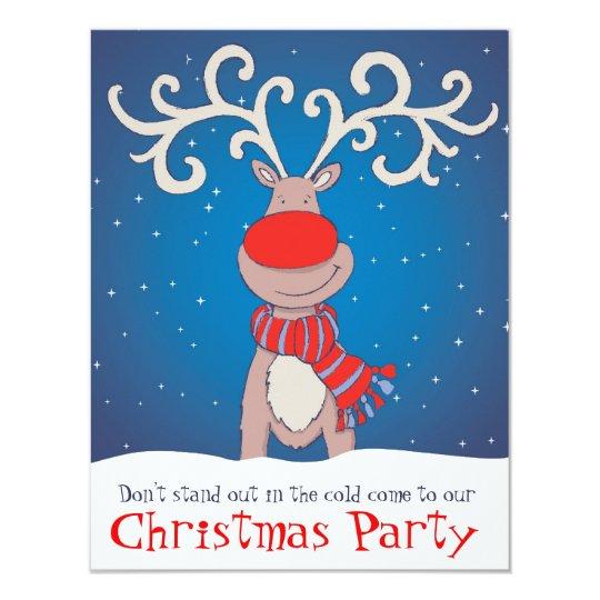Kids Christmas party invitation snowed reindeer