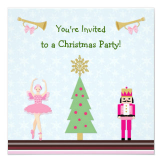 Kids Christmas Party - tree,ballerina, Nutcracker Card