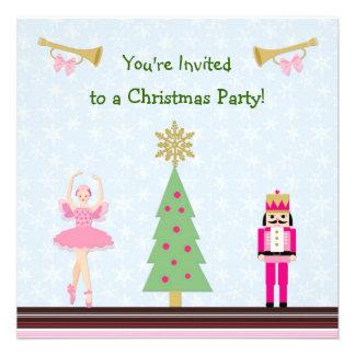 Kids Christmas Party - tree ballerina Nutcracker Personalized Invitation