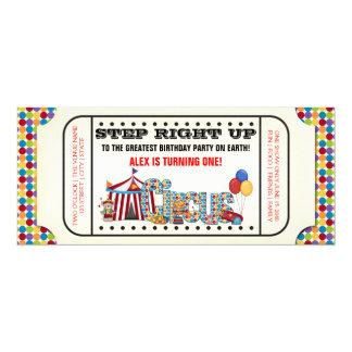 "Kids Circus Ticket Birthday Party 4"" X 9.25"" Invitation Card"