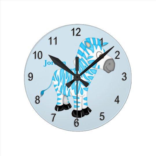 Kid's Clock Cute Blue Baby Zebra