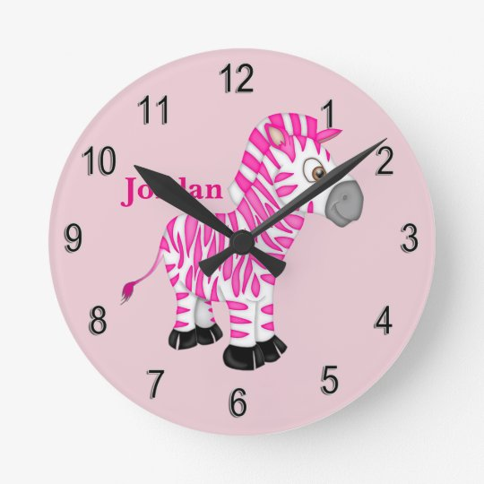 Kid's Clock Cute Pink Baby Zebra