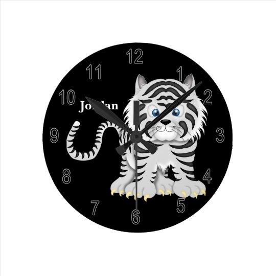 Kid's Clock Cute White Baby Tiger