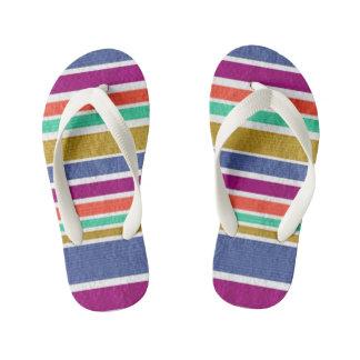 Kids color stripes printed designer Flip Flops Thongs