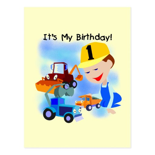 Kids construction 1st birthday t shirts and gifts postcard