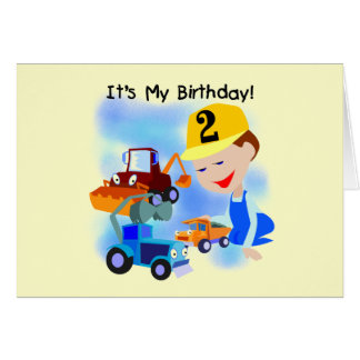 Kids Construction 2nd Birthday Tshirts and Gifts Card