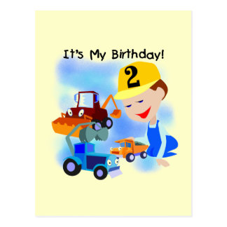 Kids Construction 2nd Birthday Tshirts and Gifts Postcard