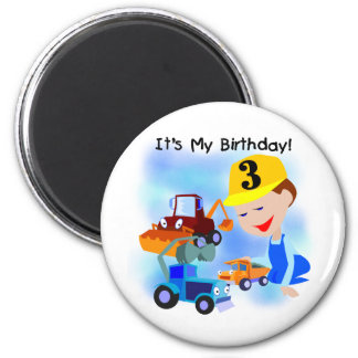 Kids Construction 3rd Birthday T-shirts and Gifts 6 Cm Round Magnet
