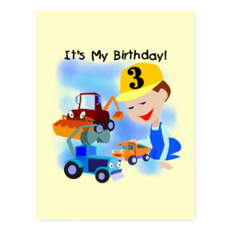 Kids Construction 3rd Birthday T-shirts and Gifts Postcard