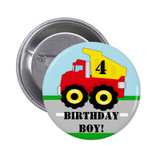 Kids Construction Dumpruck Custom Button