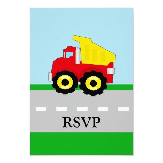 Kids Construction Dumptruck Matching RSVP Card