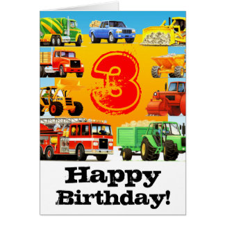 Kids Construction Truck 3rd Birthday Card