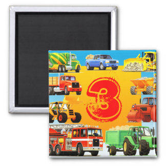 Kids Construction Truck 3rd Birthday Square Magnet