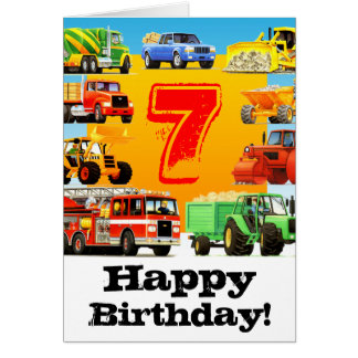 Kid's Construction Truck 7th Birthday Greeting Card