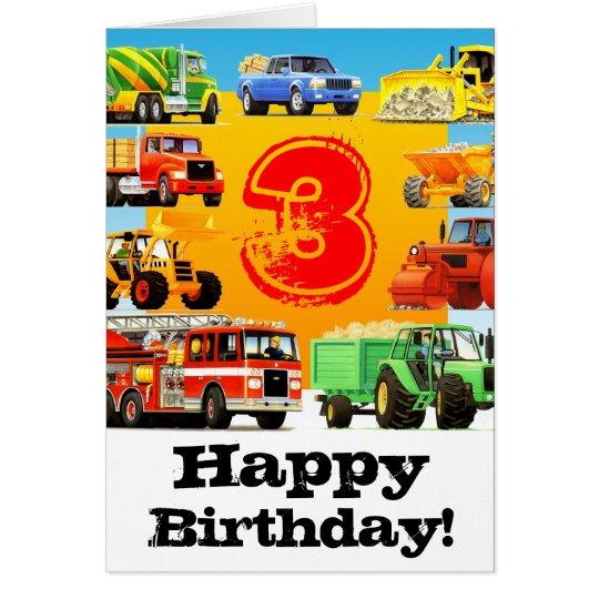Kid's Construction Truck Happy 3rd Birthday Card