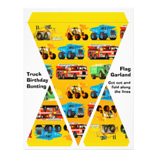 Kids Construction Truck Party Decorations Bunting Flyer