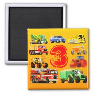 Kid's Construction Trucks 3rd Birthday Square Magnet