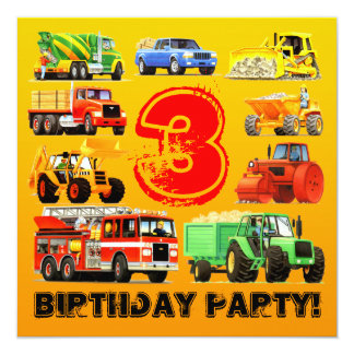 Kid's Construction Trucks 3rd Birthday Party 13 Cm X 13 Cm Square Invitation Card