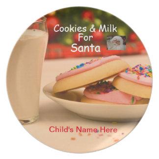 Kids Cookies and Milk Christmas Plate for Santa