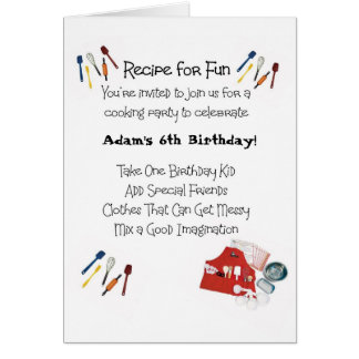 Kids Cooking Theme Invitation Card