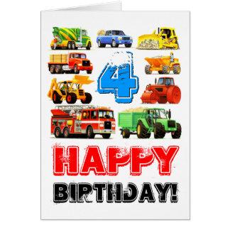 Kid's Custom 4th Birthday Construction Truck Greeting Card