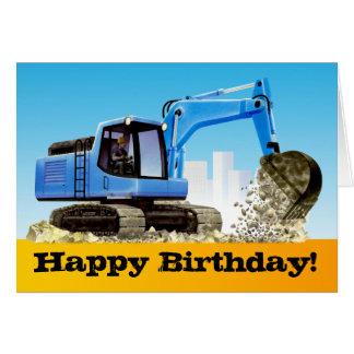 Kids Custom Blue Excavator Digger Happy Birthday Greeting Card